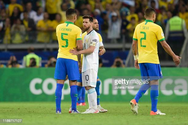 Casemiro of Brazil greets Lionel Messi of Argentina after the Copa America Brazil 2019 Semi Final match between Brazil and Argentina at Mineirao...