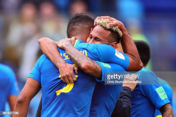 Casemiro of Brazil hugs teammate Neymar after the 2018 FIFA World Cup Russia group E match between Brazil and Costa Rica at Saint Petersburg Stadium...