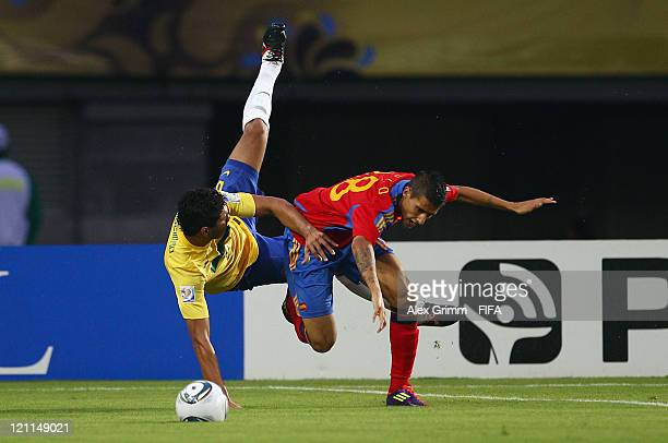Casemiro of Brazil is challenged by Cristian Tello of Spain during the FIFA U20 World Cup 2011 quarter final match between Brazil and Spain at...