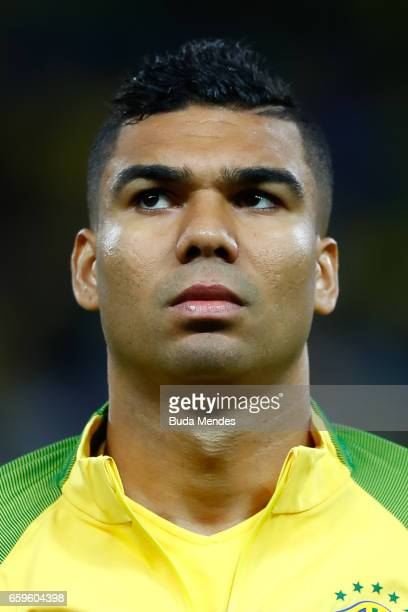 Casemiro of Brazil looks on before a match between Brazil and Paraguay as part of 2018 FIFA World Cup Russia Qualifier at Arena Corinthians on March...