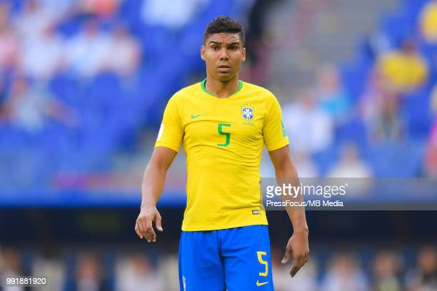 Casemiro of Brazil looks on during the 2018 FIFA World Cup Russia Round of 16 match between Brazil and Mexico at Samara Arena on July 2 2018 in...