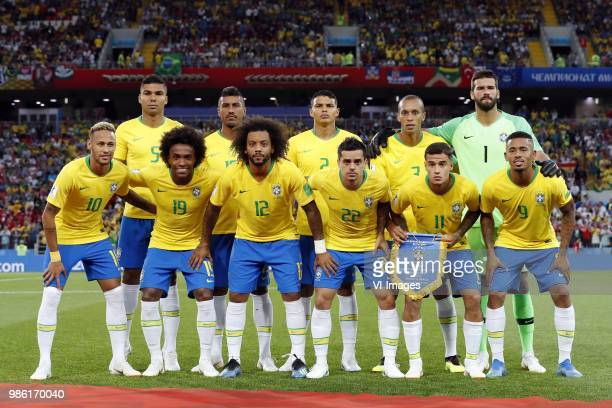 Casemiro of Brazil Paulinho of Brazil Thiago Silva of Brazil Miranda of Brazil goalkeeper Alisson of Brazil Neymar of Brazil Willian of Brazil...