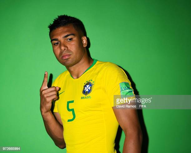 Casemiro of Brazil poses during the official FIFA World Cup 2018 portrait session at the Brazil Team Camp on June 12 2018 in Sochi Russia