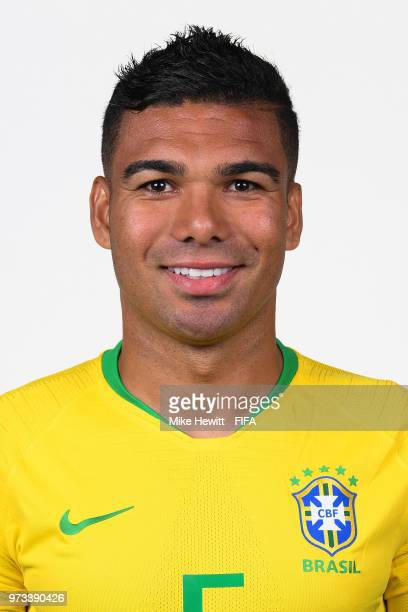 Casemiro of Brazil poses for photographs during the official FIFA World Cup 2018 portrait session at the Brazil Team Camp on June 12 2018 in Sochi...