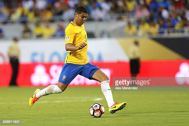 Casemiro of Brazil runs with the ball during a group B match between Brazil and Haiti at Orlando Citrus Bowl as part of Copa America Centenario US...