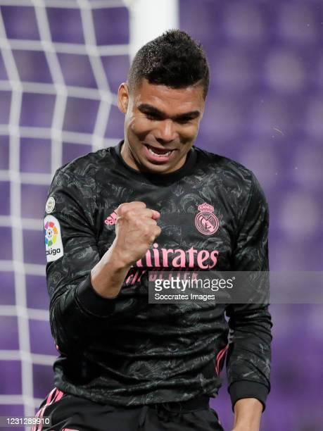 Casemiro of Real Madrid Celebrates 0-1 during the La Liga Santander match between Real Valladolid v Real Madrid at the Estadio Nuevo Jose Zorrilla on...
