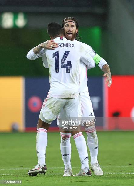Casemiro of Real Madrid celebrates after he scores his team's second goal during the UEFA Champions League Group B stage match between Borussia...