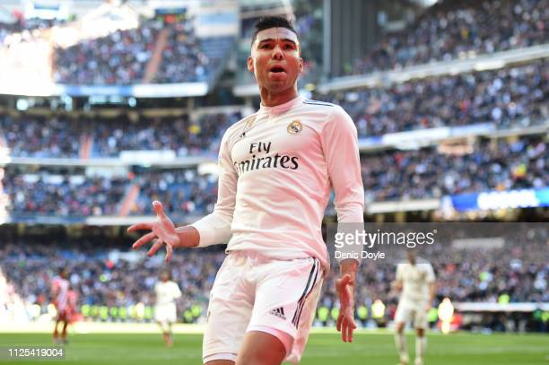 Casemiro of Real Madrid celebrates after scoring his team's first goal during the La Liga match between Real Madrid CF and Girona FC at Estadio...