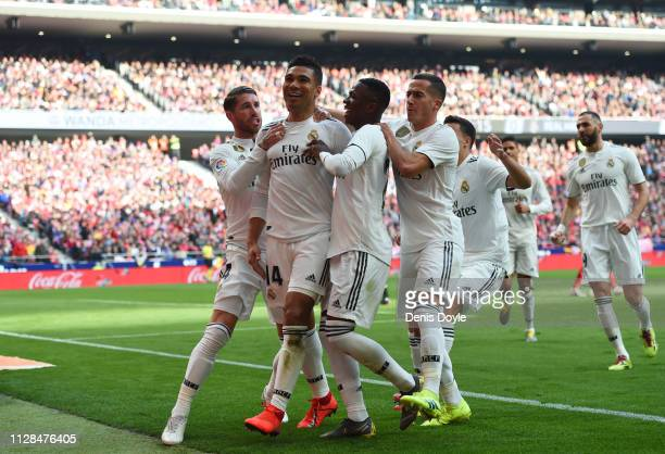 Casemiro of Real Madrid celebrates after scoring his team's first goal with Sergio Ramos Vinicius Junior and Lucas Vazquez during the La Liga match...