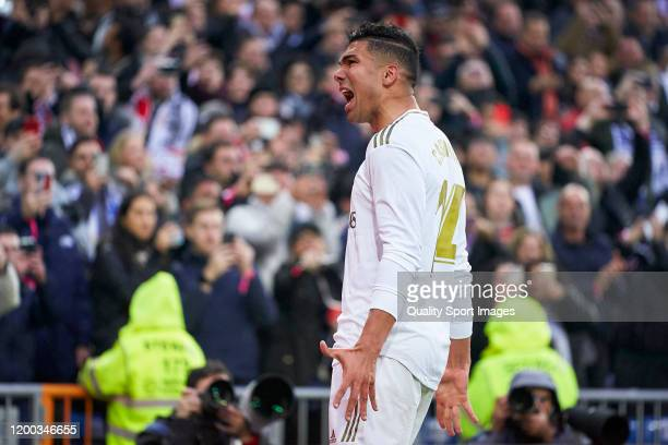 Casemiro of Real Madrid celebrates after scoring his team's first goal during the Liga match between Real Madrid CF and Sevilla FC at Estadio...