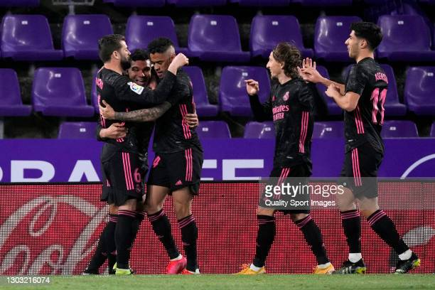 Casemiro of Real Madrid celebrates after scoring his team's first goal during the La Liga Santander match between Real Valladolid CF and Real Madrid...