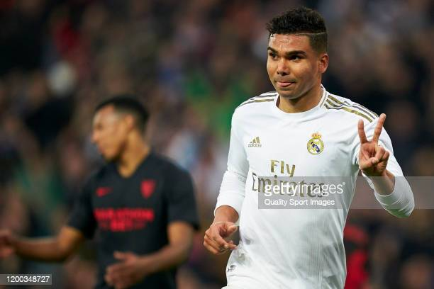 Casemiro of Real Madrid celebrates after scoring his team's second goal during the Liga match between Real Madrid CF and Sevilla FC at Estadio...