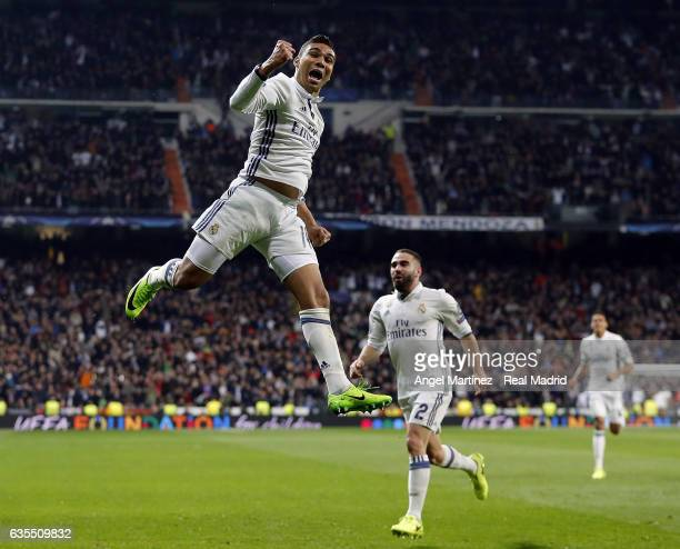 Casemiro of Real Madrid celebrates after scoring his team's third goal during the UEFA Champions League Round of 16 first leg match between Real...