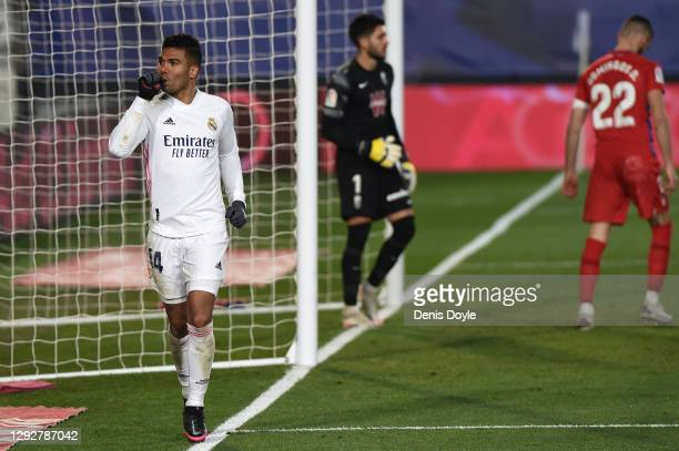 Casemiro of Real Madrid celebrates after scoring their sides first goal during the La Liga Santander match between Real Madrid and Granada CF at...