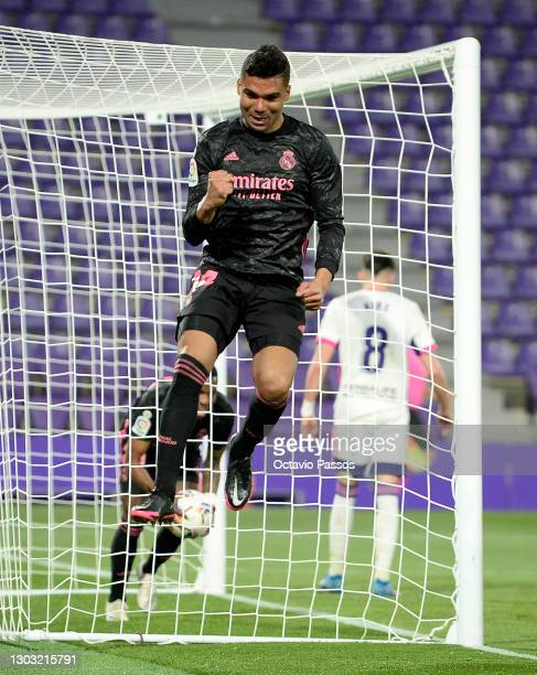 Casemiro of Real Madrid celebrates after scoring their side's first goal during the La Liga Santander match between Real Valladolid CF and Real...