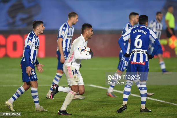 Casemiro of Real Madrid celebrates after scoring their team's first goal during the La Liga Santander match between Real Madrid and Deportivo Alaves...