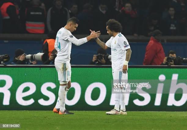 Casemiro of Real Madrid celebrates as he scores their second goal with Casemiro of Real Madrid celebrates as he scores their second goal with...