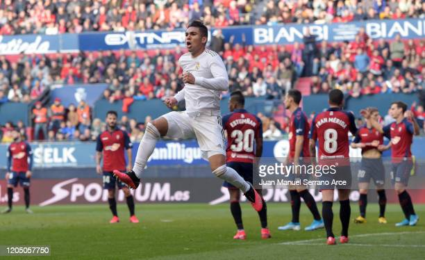 Casemiro of Real Madrid celebrates his sides second goal during the La Liga match between CA Osasuna and Real Madrid CF at El Sadar Stadium on...