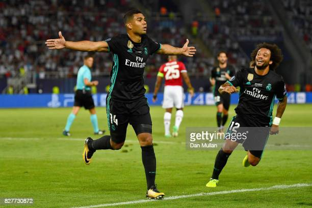 Casemiro of Real Madrid celebrates scoring his sides first goal during the UEFA Super Cup final between Real Madrid and Manchester United at the...