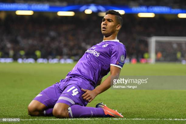 Casemiro of Real Madrid celebrates scoring his sides second goal during the UEFA Champions League Final between Juventus and Real Madrid at National...