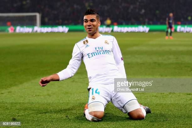 Casemiro of Real Madrid celebrates scoring his sides second goal during the UEFA Champions League Round of 16 Second Leg match between Paris...