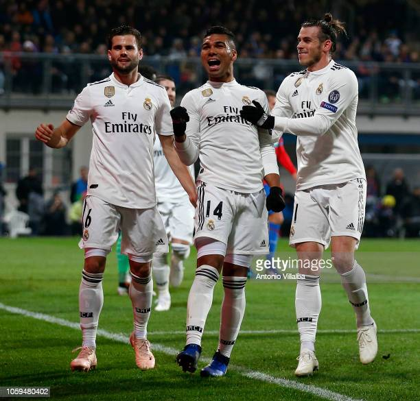 Casemiro of Real Madrid celebrates the second goal of his team whit Nacho and Gareth Bale during the Group G match of the UEFA Champions League...