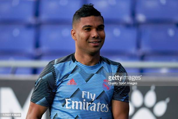 Casemiro of Real Madrid CF during the prematch warm up prior to Liga match between RCD Espanyol and Real Madrid CF at RCDE Stadium on June 28, 2020...
