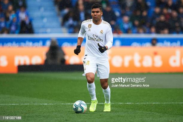 Casemiro of Real Madrid CF in action during the Liga match between Deportivo Alaves and Real Madrid CF at Estadio de Mendizorroza on November 30 2019...