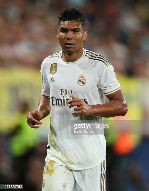 Casemiro of Real Madrid CF looks on during the Liga match between Villarreal CF and Real Madrid CF at Estadio de la Ceramica on September 01 2019 in...