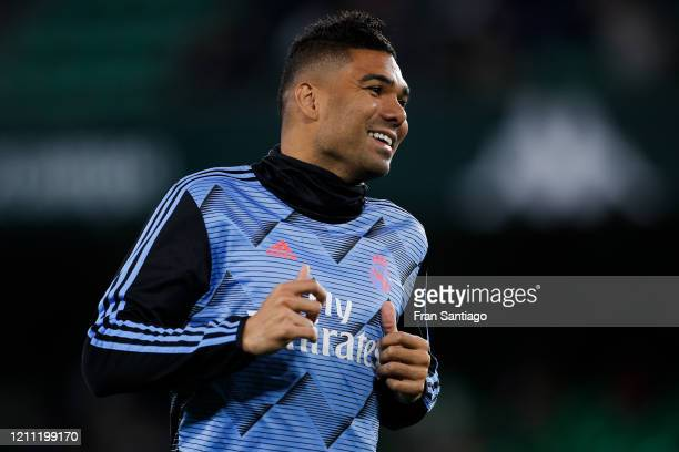 Casemiro of Real Madrid CF looks on during the warm up prior to the Liga match between Real Betis Balompie and Real Madrid CF at Estadio Benito...