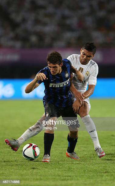 Casemiro of Real Madrid competes with Kovacic Mateo of FC Internazionale during the match of International Champions Cup China 2015 between Real...