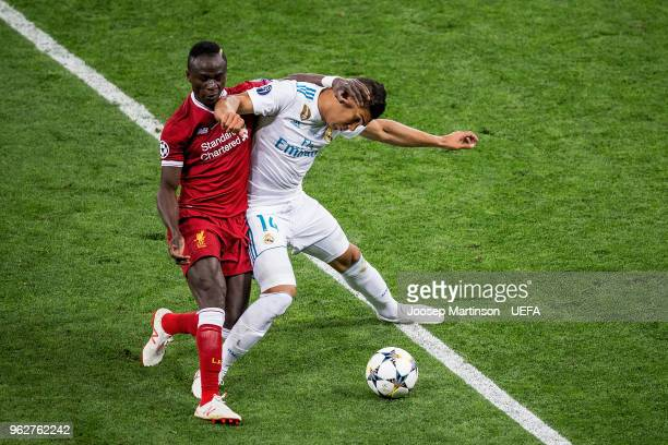 Casemiro of Real Madrid competes with Sadio Mane of Liverpool during the UEFA Champions League final between Real Madrid and Liverpool on May 26 2018...