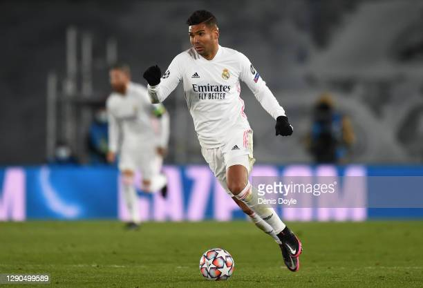 Casemiro of Real Madrid controls the ball during the UEFA Champions League Group B stage match between Real Madrid and Borussia Moenchengladbach at...