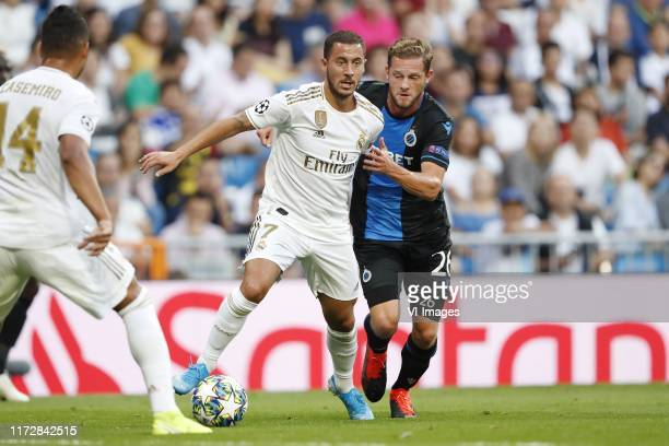Casemiro of Real Madrid Eden Hazard of Real Madrid Mats Rits of Club Brugge KV during the UEFA Champions League group A match between Real Madrid and...
