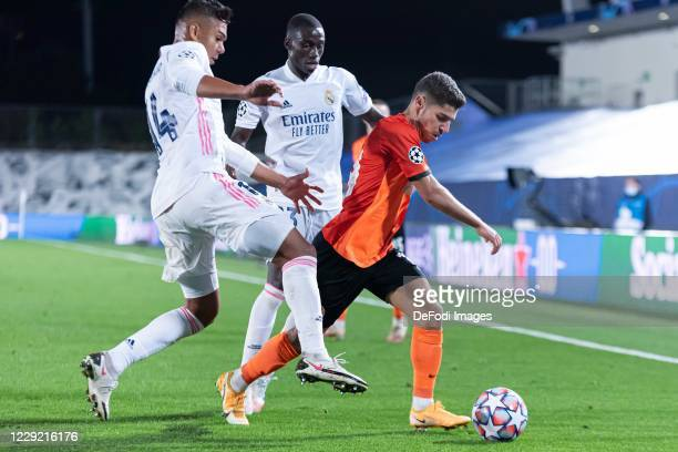 Casemiro of Real Madrid Ferland Mendy of Real Madrid and Manor Solomon of FC Shakhtar Donetsk battle for the ball during the UEFA Champions League...