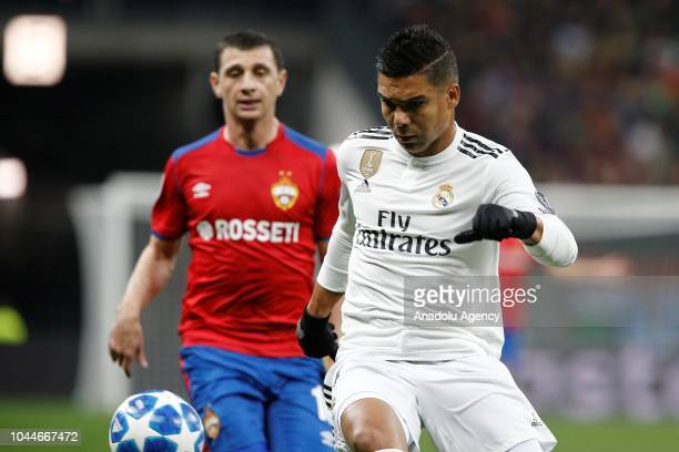Casemiro of Real Madrid in action against Alan Dzagoev of CSKA Moscow during UEFA Champions League Group G soccer match between CSKA Moscow and Real...