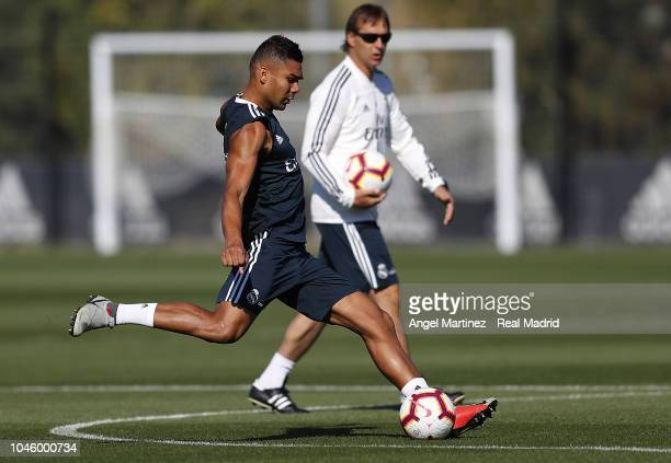 Casemiro of Real Madrid in action during a training session at Valdebebas training ground on October 5 2018 in Madrid Spain