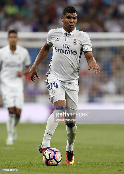 Casemiro of Real Madrid in action during the La Liga match between Real Madrid CF and RC Celta de Vigo at Estadio Santiago Bernabeu on August 27 2016...