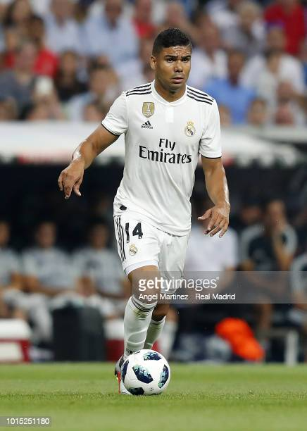 Casemiro of Real Madrid in action during the Trofeo Santiago Bernabeu match between Real Madrid and AC Milan at Estadio Santiago Bernabeu on August...