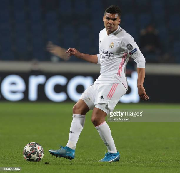 Casemiro of Real Madrid in action during the UEFA Champions League Round of 16 match between Atalanta and Real Madrid at Gewiss Stadium on February...