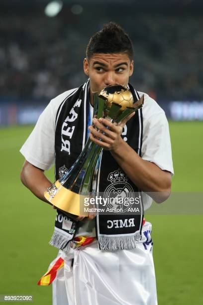 Casemiro of Real Madrid kisses the trophy at the end of the FIFA Club World Cup UAE 2017 final match between Gremio and Real Madrid CF at Zayed...