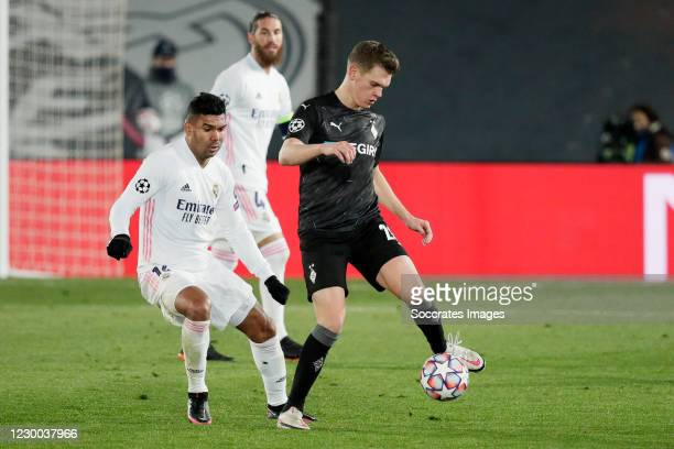 Casemiro of Real Madrid, Laszlo Benes of Borussia Monchengladbach during the UEFA Champions League match between Real Madrid v Borussia...