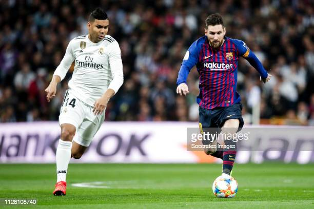 Casemiro of Real Madrid Lionel Messi of FC Barcelona during the Spanish Copa del Rey match between Real Madrid v FC Barcelona at the Santiago...
