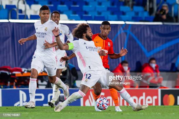 Casemiro of Real Madrid Marcelo of Real Madrid and Tete of FC Shakhtar Donetsk battle for the ball during the UEFA Champions League Group B stage...