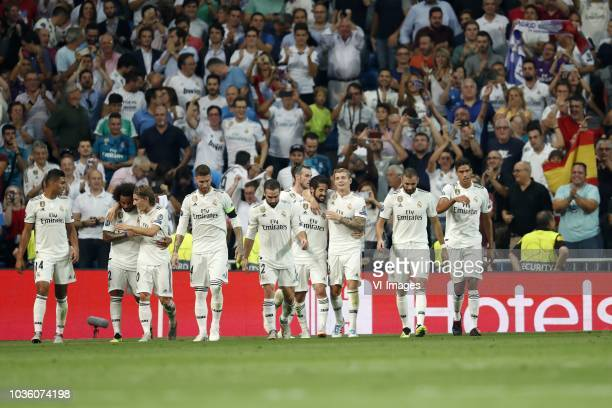 Casemiro of Real Madrid Marcelo of Real Madrid Luka Modric of Real Madrid Sergio Ramos of Real Madrid Daniel Carvajal of Real Madrid Gareth Bale of...