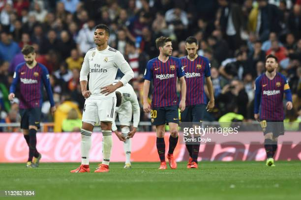 Casemiro of Real Madrid reacts after Barcelona scored their third goal during the Copa del Rey Semi Final second leg match between Real Madrid and FC...