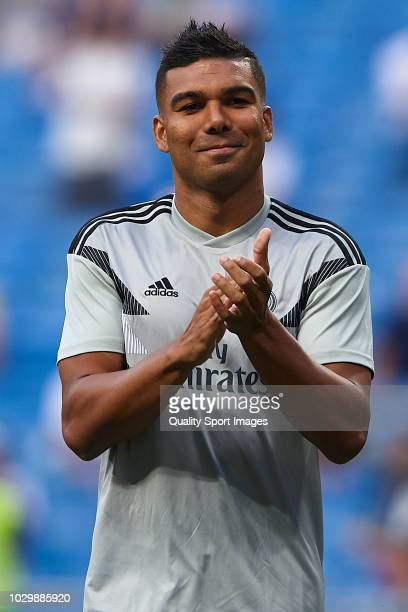 Casemiro of Real Madrid reacts prior to the La Liga match between Real Madrid CF and CD Leganes at Estadio Santiago Bernabeu on September 1 2018 in...