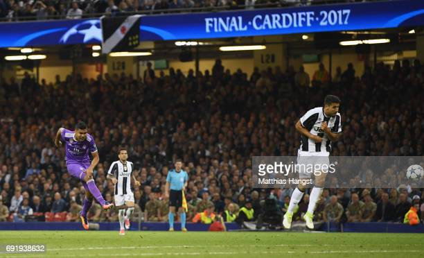 Casemiro of Real Madrid scores his sides second goal during the UEFA Champions League Final between Juventus and Real Madrid at National Stadium of...