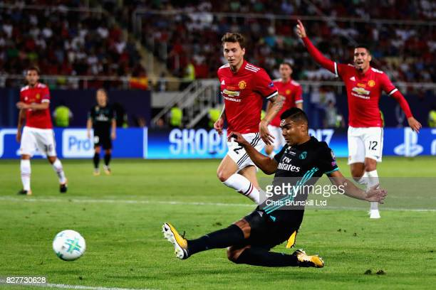 Casemiro of Real Madrid scores the opening goal during the UEFA Super Cup match between Real Madrid and Manchester United at National Arena Filip II...