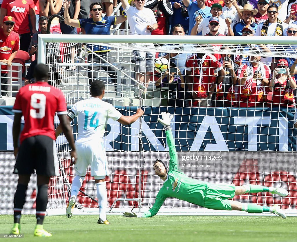 Casemiro of Real Madrid scores their first goal during the International Champions Cup 2017 pre-season friendly match between Real Madrid and Manchester United at Levi's Stadium on July 23, 2017 in Santa Clara, California.